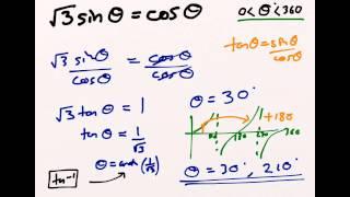 Using the tanθ = sinθ / cosθ trigonometric identity to solve equations