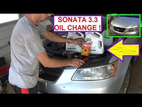 Hyundai Sonata 3.3 V6 Oil Change 2006 2007 2008 2009 2010 - YouTube
