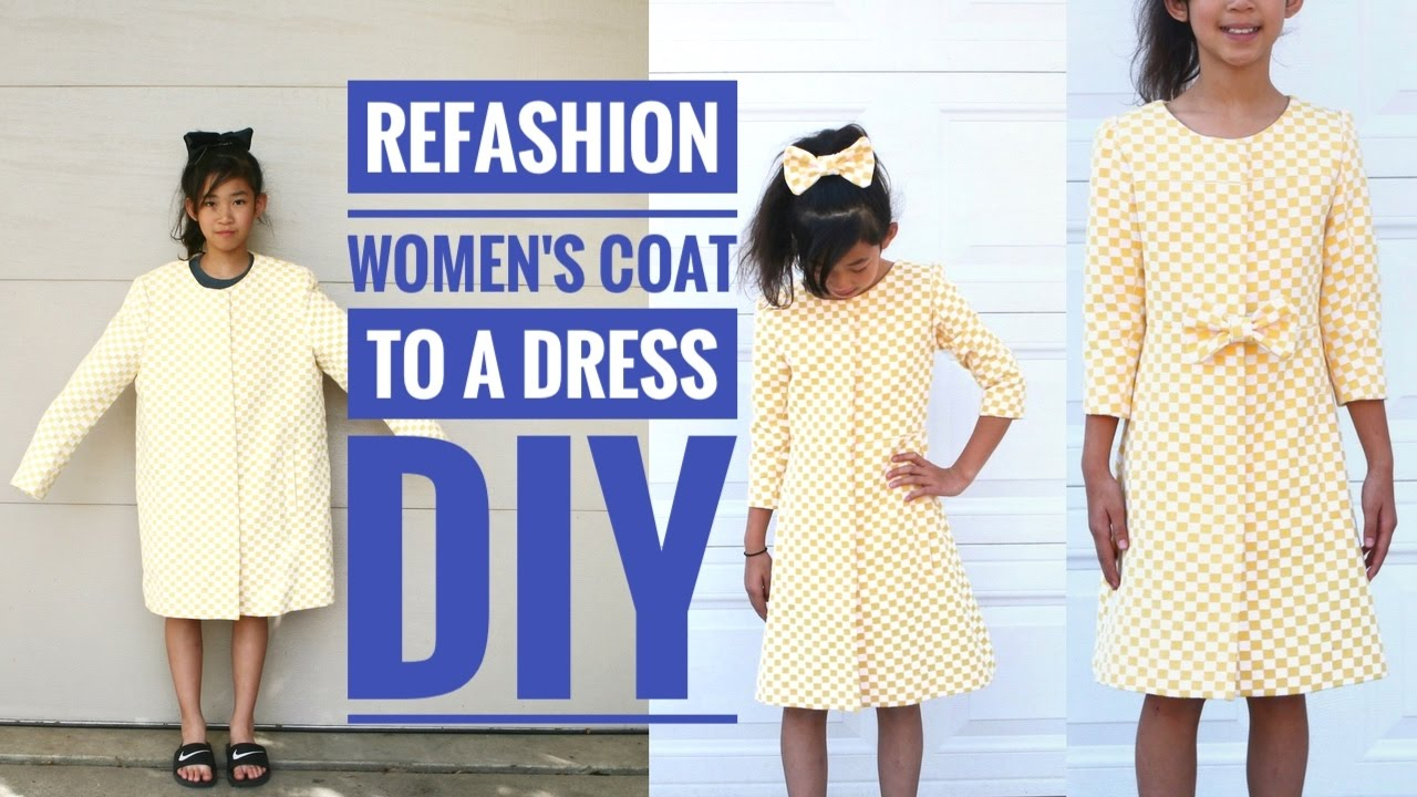 49e53cc7ff6 DIY  LARGE WOMEN S COAT TO A COAT DRESS FOR A GIRL REFASHION - YouTube