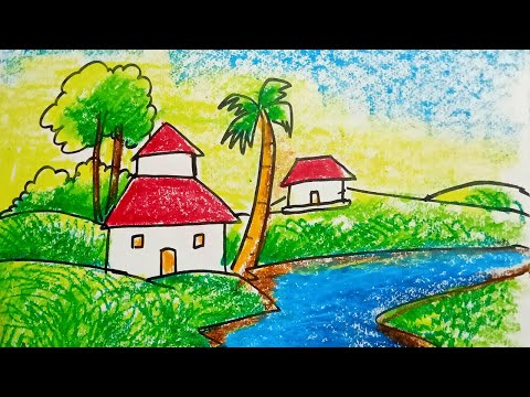 How to draw Village scenery with oil pastels