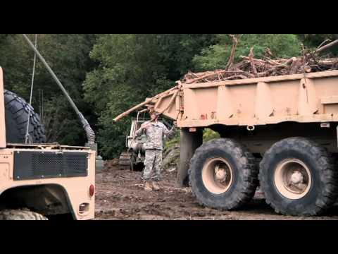 Maine Natinal Guard building Vermont roads, post Hurricane Irene