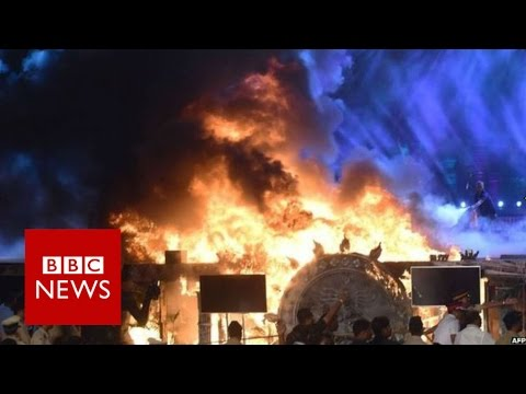 India: Moment Stage Caught Fire During A Performance - BBC News