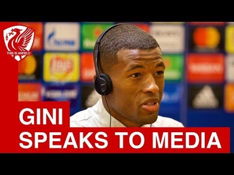 Gini Wijnaldum talks to the media