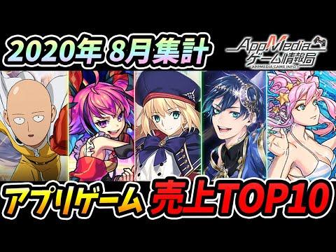 【スマホゲーム】ゲームアプリ売上ランキングベスト10!【2020年8月集計】