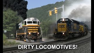 Lots of SMOKE! Dirty Diesel Locomotives Throttling & Blowing Exhaust!