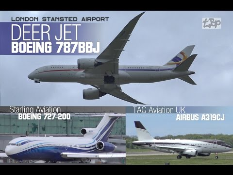Deer Jet Boeing 787 -8BBJ Business Jet London Stansted Airport Plane Spotting 727-200 Airbus A319