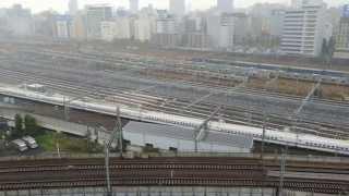 山手線新駅予定地付近 品川車両基地 走る新幹線 Shinkansen