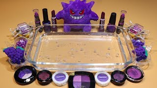 """Mixing """"Dark Purple"""" Makeup,Parts,clay,glitter... Into Clear Slime!..."""