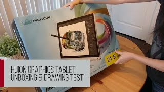 Huion GT-220 graphics tablet pen display - UNBOXING & DRAWING TEST