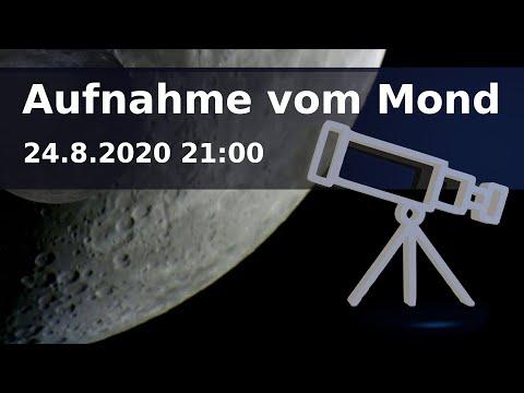Teleskop Aufnahme vom Mond am 24.8.2020 21:00 - 21:45