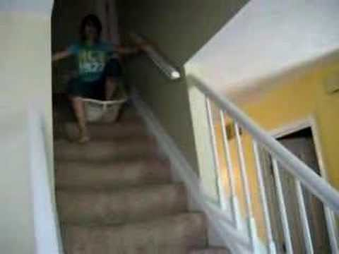 Sliding Down The Steps In A Broken Laundry Basket!!!