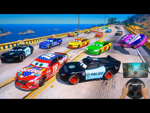 Police Car Lightning McQueen Jackson Storm & Friends VS Nascar Cars   Hot pursuit   Police Chase