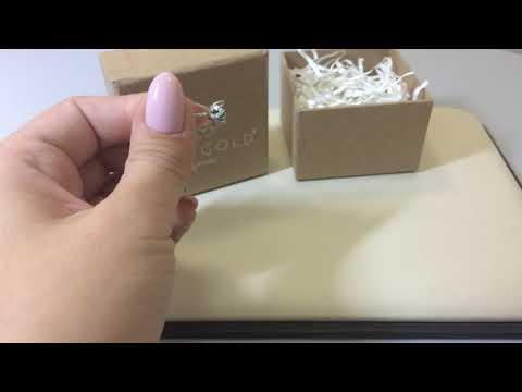 Серьги-пуссеты 2364 из белого золота 585 пробы с изумрудами и бриллиантами