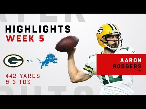 Aaron Rodgers Racks Up 442 Yards & 3 TDs vs. Lions