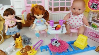 Baby doll house and Cafe Shop toys car play - 토이몽