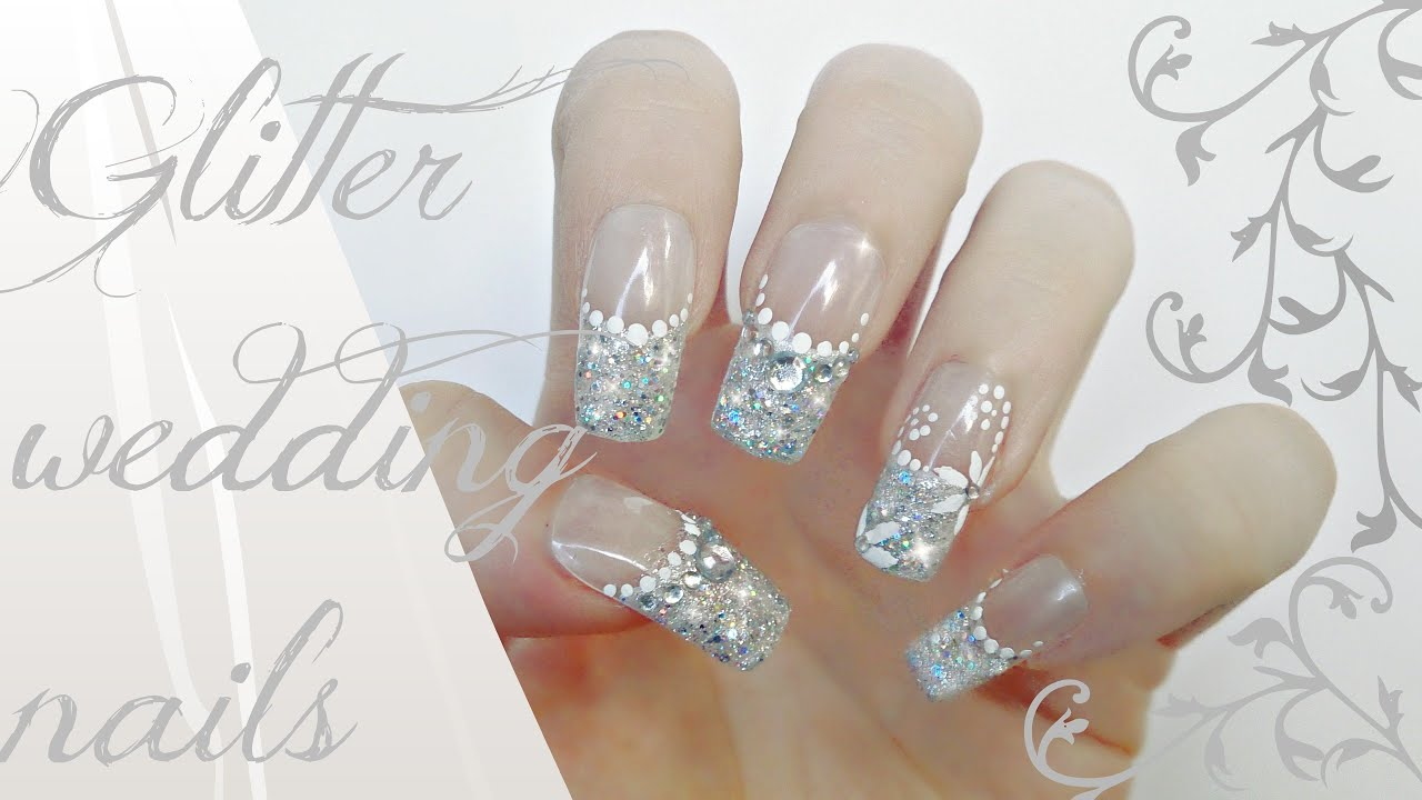 glitter wedding nails tutorial