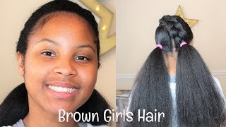 1 Cornrow 2 Ponytails Kids Hairstyle | Brown Girls Hair