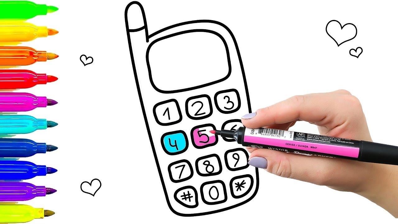 Cómo Dibujar El Teléfono Con Botones Y Números Aprendizaje De Dibujos Para Colorear Para Niños