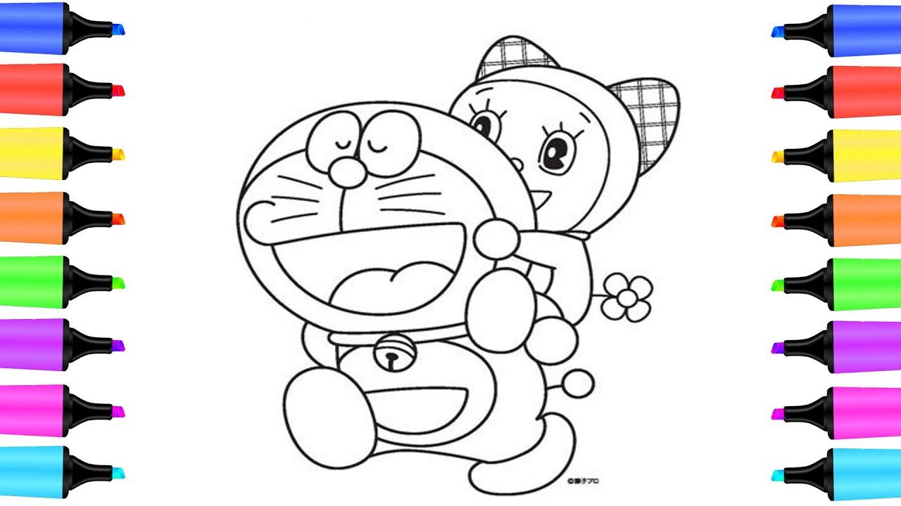Cách vẽ và tô màu Đoremon  và Đoremi   Dạy bé vẽ   Đồ chơi trẻ em   Chim bông