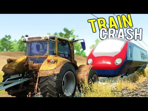 TRAIN CRASHES INTO EXPENSIVE FARM TRACTOR! Huge Harvester at