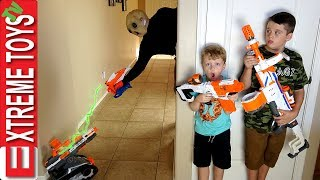 Alien Sabotage! Nerf Extra Terrestrial Attack! Ethan and Cole Vs. Nerf Drone Vs. Crazy Alien.