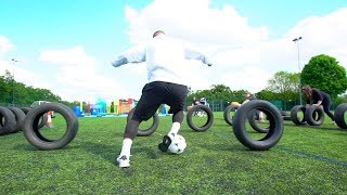 INSANE FOOTBALL WIPEOUT CHALLENGE!! ⚽️💥