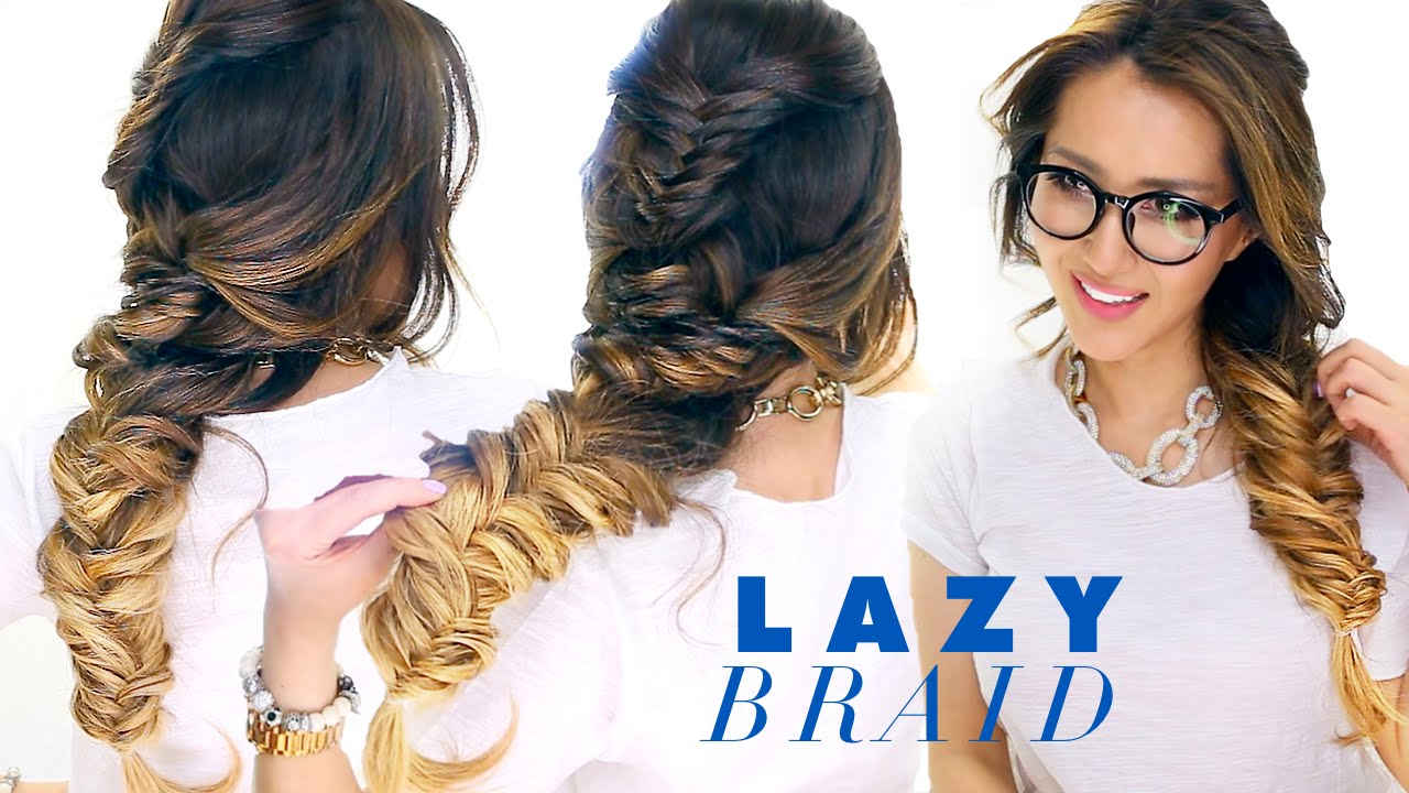 Cute Hair Styles With Braids: LAZY Girl's French Fishtail BRAID Hairstyle ★ Cute SCHOOL