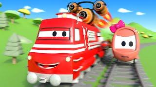 Поезд Трой и Гонка в Автомобильный Город |Мультфильм для детей