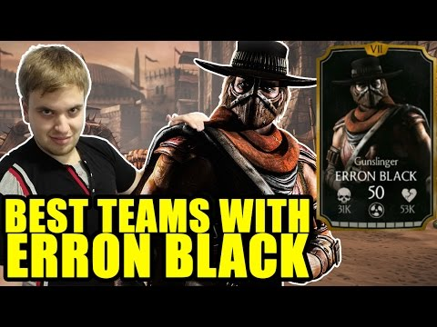 Erron Black in MKX Mobile. Best teams and equipment for Erron Black.