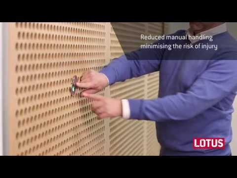 Lotus doors electric retractable seals and expander panel for Lotus operable walls