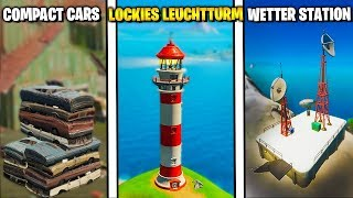 Dance at Compact Cars, Lockies Lighthouse and Weather Station | Fortnite 2 Season 1 Challenges