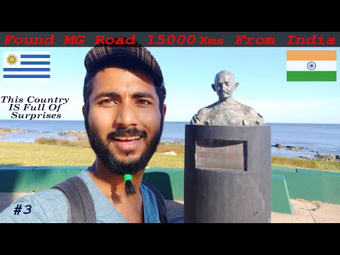 Gandhi Statue And Road In The Capital Of Uruguay || Montevideo ||