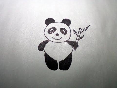 วาดรูป หมีแพนด้า สอนวาดรูปการ์ตูนน่ารัก ง่ายๆ How to Draw Panda Cartoon