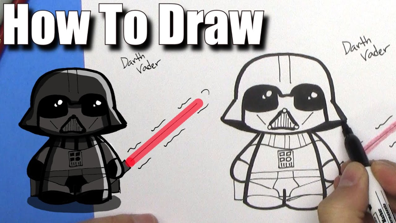 How To Draw Cute Darth Vader Easy Chibi Step By Step Youtube