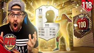 OMG I PACKED AN INSANE ICON!! MY TOP 100 REWARDS! FIFA 19 Ultimate Team RTG #118