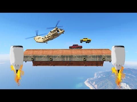 INSANE FLYING PLATFORM DERBY! (GTA 5 Funny Moments)