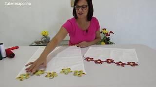 Pano de Prato florido – Termolina, patch aplique e caseado