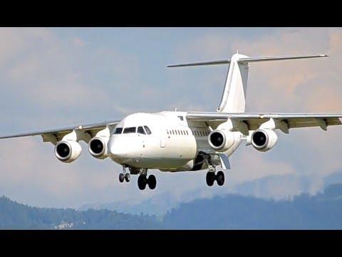 Steep Approach - BAe 146-200 / Avro RJ85 Landing in Berne HD