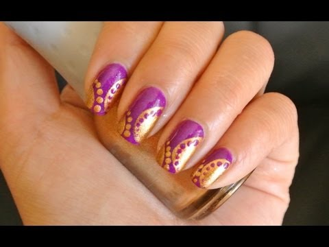 Purple and gold swirl Nail Cocktail