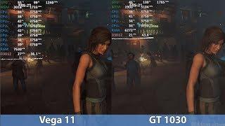 GeForce GT 1030 vs. Ryzen 5 2400G Vega 11 in 2019 in 11 Games. Benchmark Comparison Test