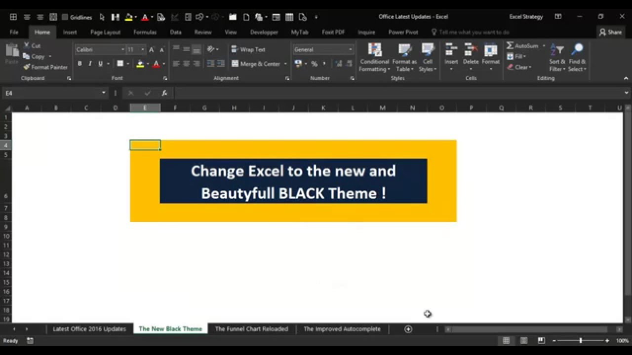 excel 2016 v11 change the excel theme to black youtube