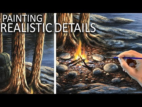 How To Paint Realistic Details Tree Bark Amp Rocks Youtube