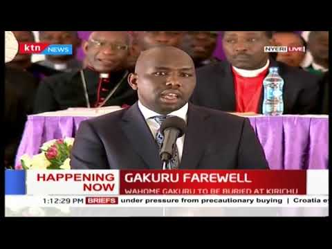 Senator Kipchumba Murkomen asks President Uhuru Kenyatta to remember the late Governor Wahome's fam