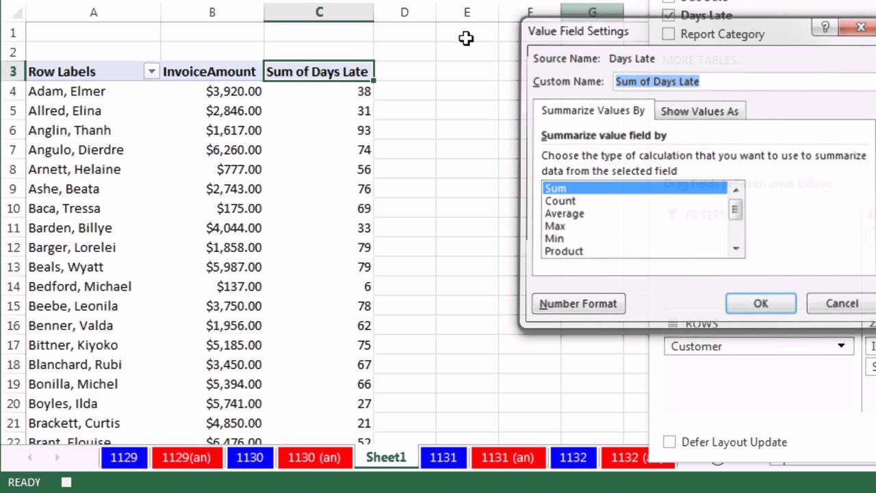 Excel Magic Trick 1131 Aging Accounts Receivable Reports On – Pivot Table Multiple Worksheets