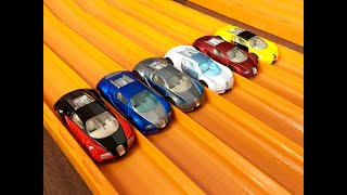 Hot Wheels 6 X Bugatti Veyron Review & RACE (All Colors)
