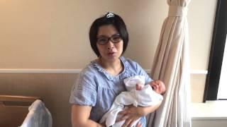 第三子出産、退院1日前、病院で撮影しました。