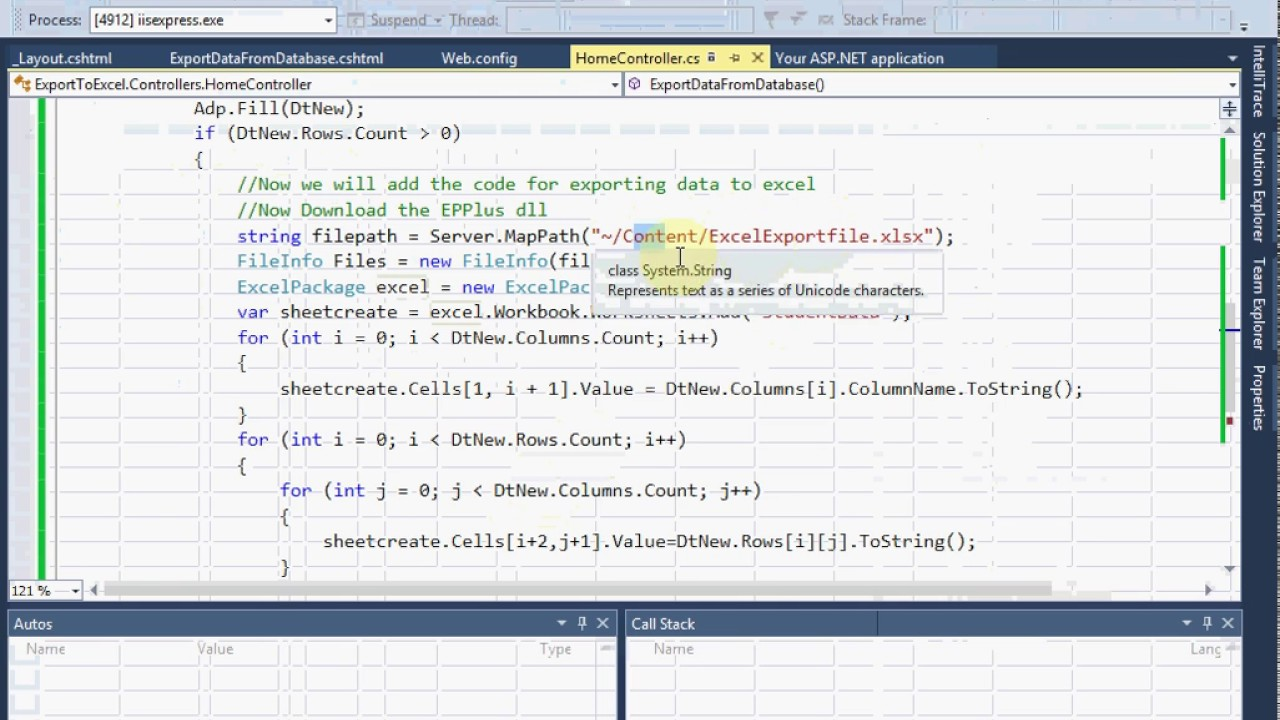 How to export data from database to excel sheet in ASP NET MVC