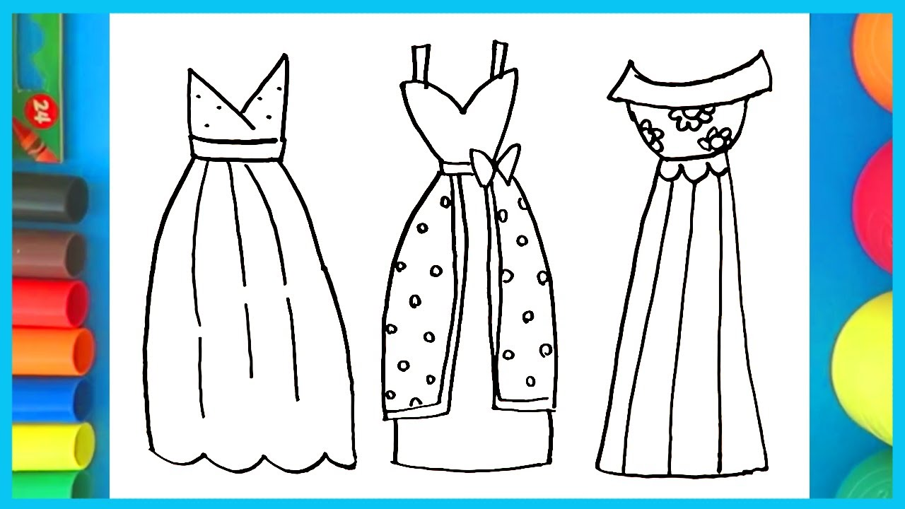 How to draw and color Cute Dresses , Easy kids coloring page video!