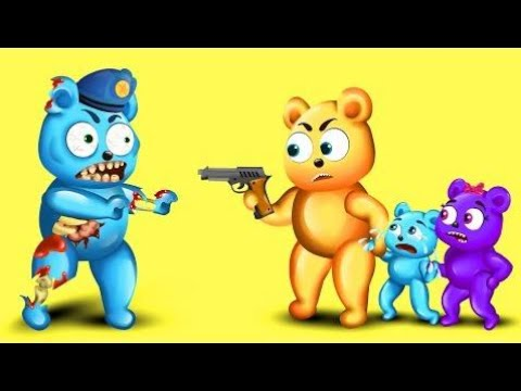 Mega Gummy Bear Zombie Attacked! Finger Family Nursery Rhymes for Kids