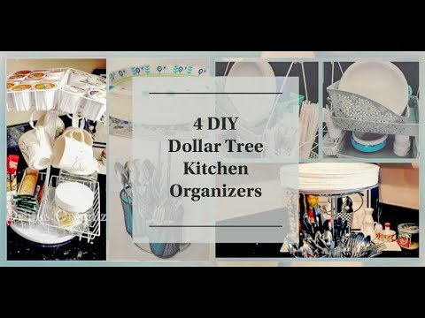 DIY DOLLAR TREE KITCHEN ORGANIZERS PAPER PLATES UTENSILS NAPKINS K CUPS TEA BAGS COFFEE